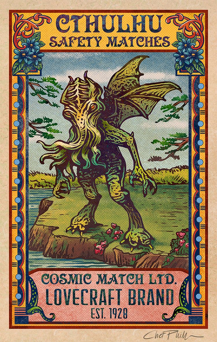 vintage matchbox inspired artwork featuring pop culture monsters