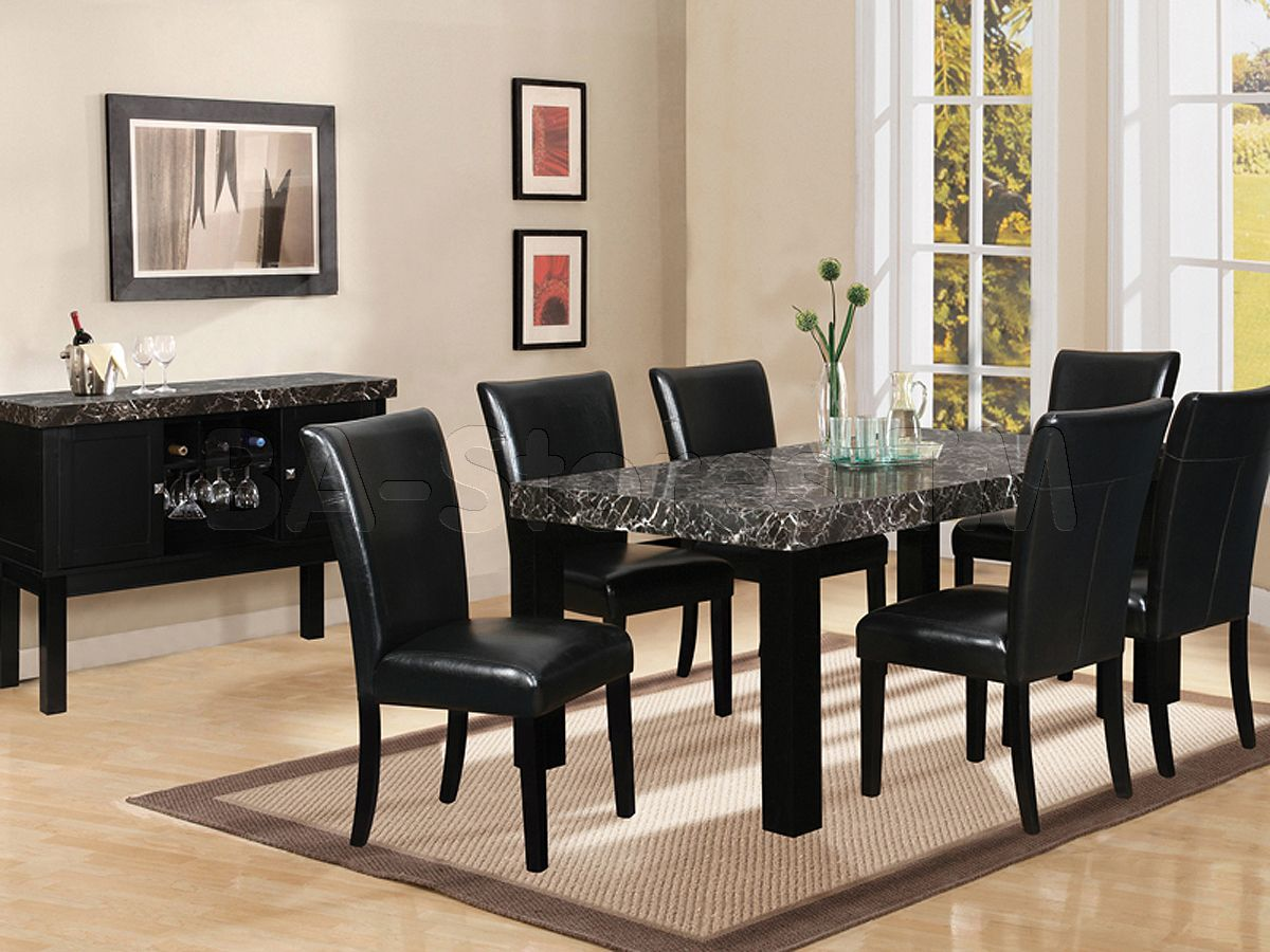 7 piece black marble dining table  Black Dining Room Set