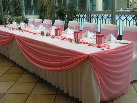 Wedding+table+skirting+ideas  Pink Swagging With White