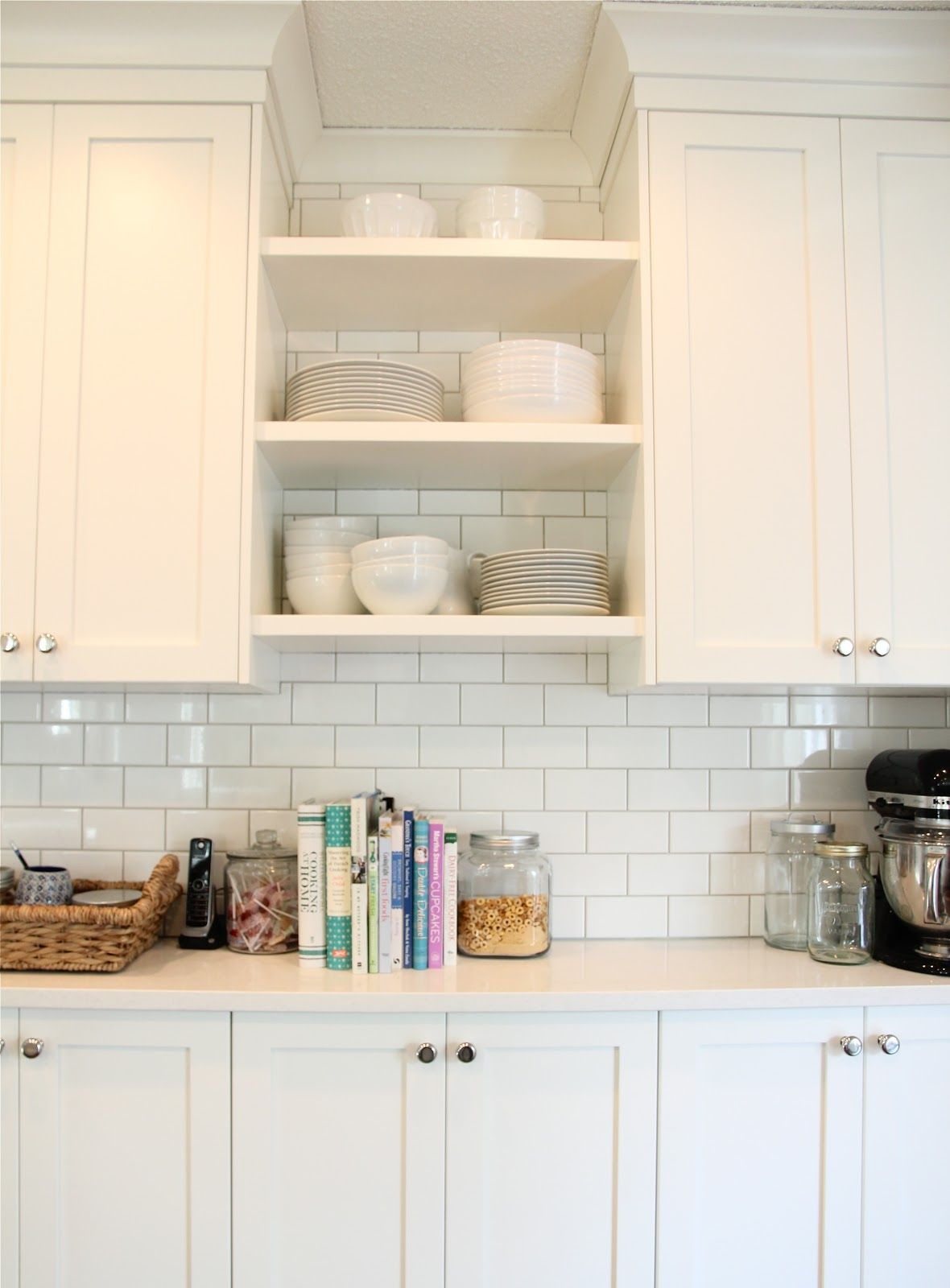 Cloud White Cabinets Light Gray Grout White Subway Tiles