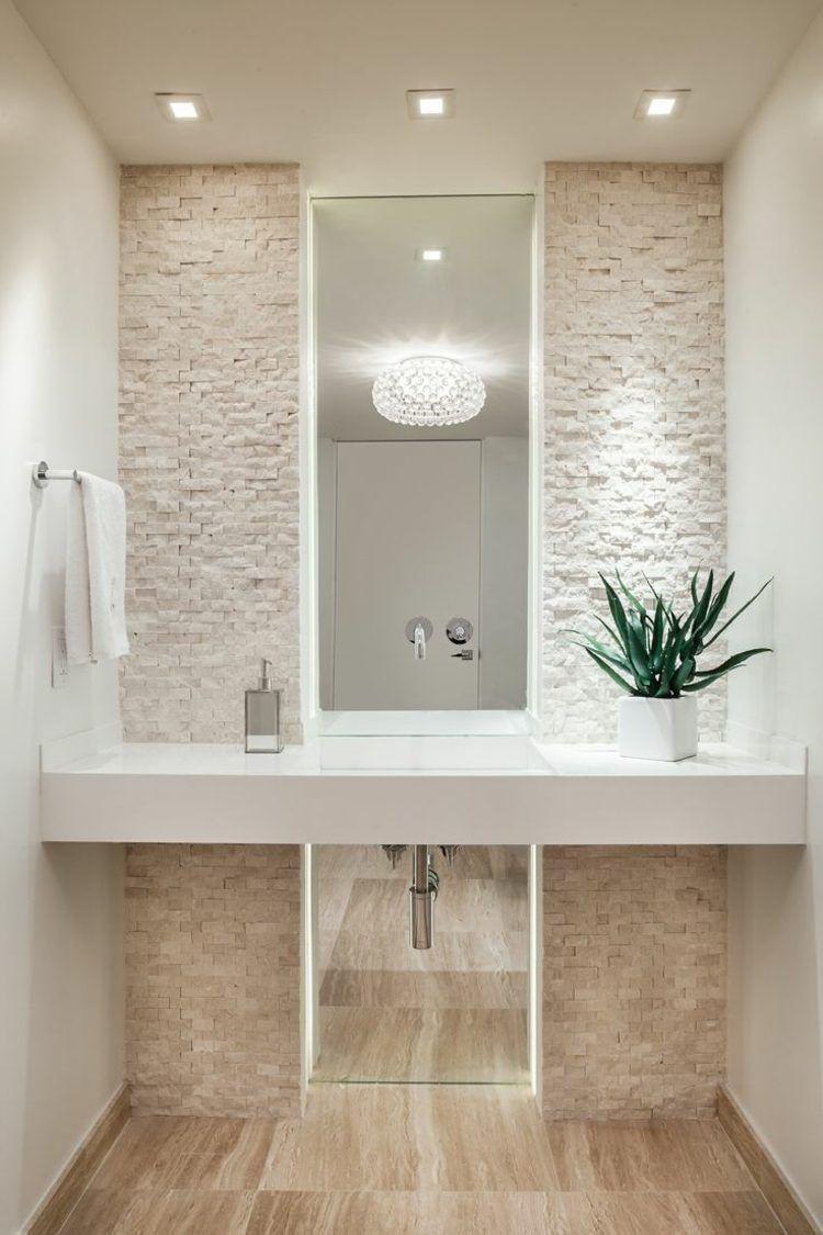 Salle De Bain Moderne En Blanc Et Beige