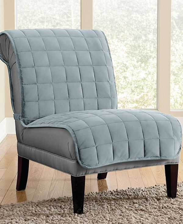 Sure Fit Velvet Deluxe Pet Armless Chair Slipcover With