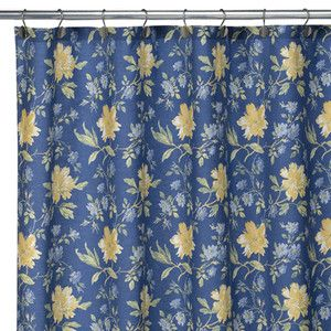 Country White With Yellow And Blue Shower Curtain Villa Flora