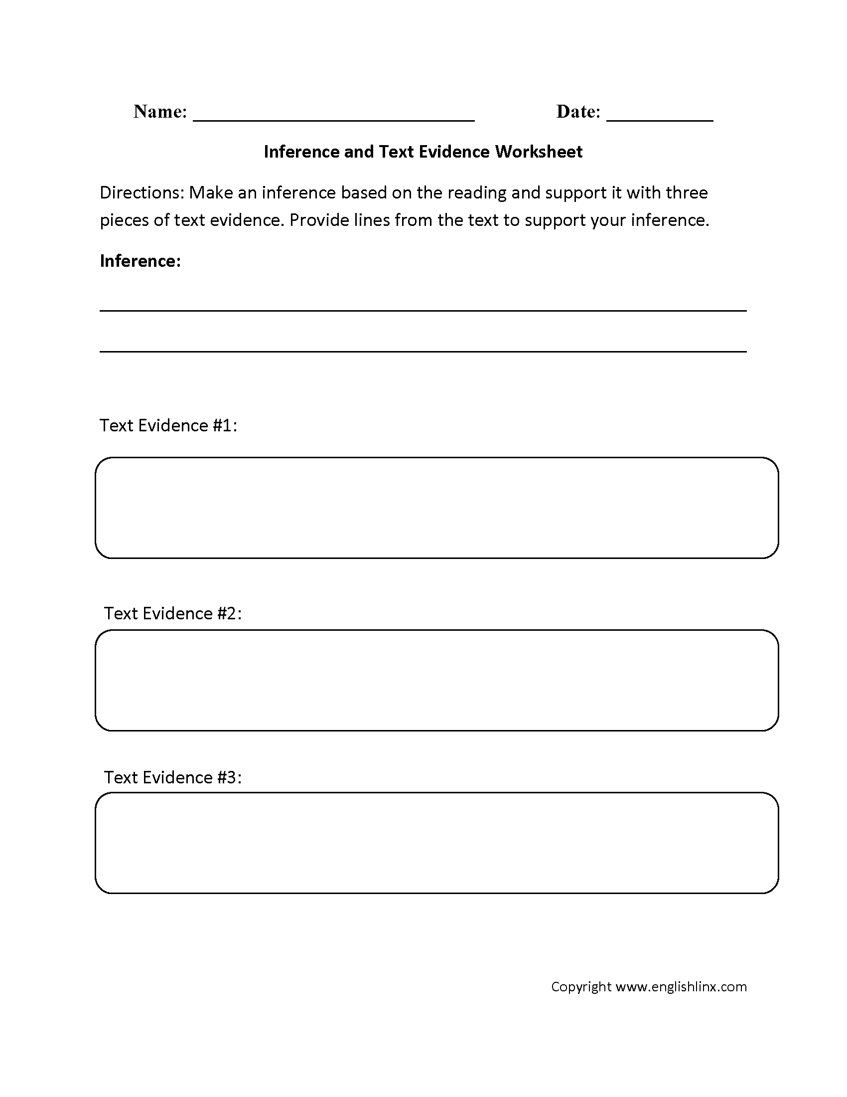 Great Graphic Organizers Inference Text Evidence Worksheets