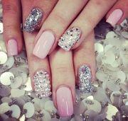 light pink silver glitter and rhinestone