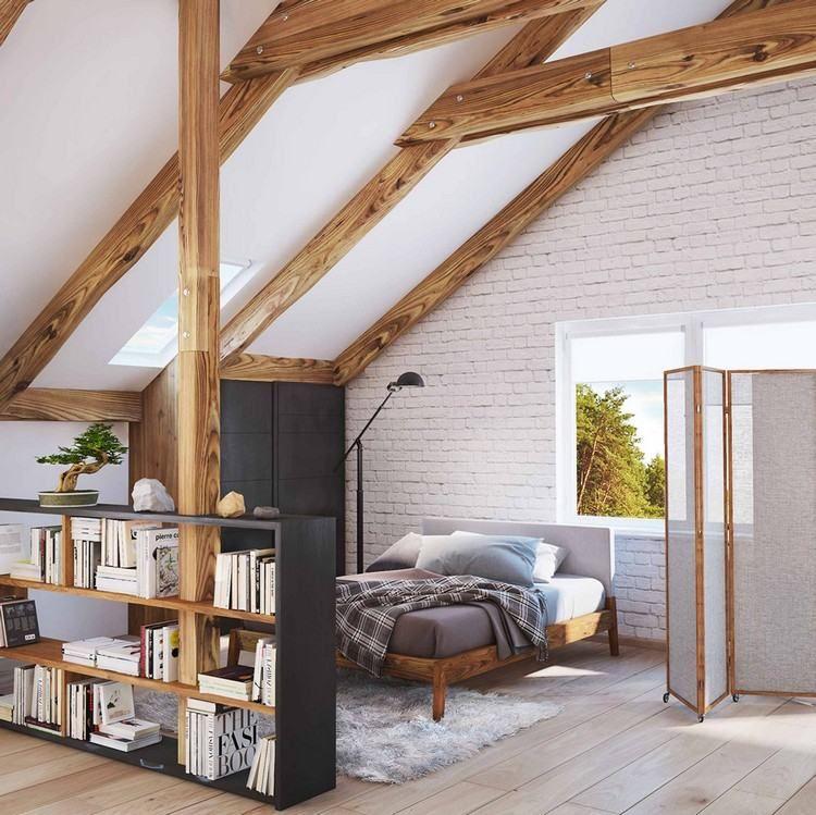 Stehregal als Raumteiler im Dachboden  Einrichtungsideen
