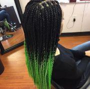 green ombre box braids