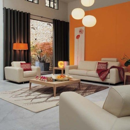 Deco salon blanc orange  photodecorationdecosalonorangeblanc4jpg  maisons et jardins
