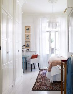 Swedish white bedroom with wood floors painted in very light gray the french doors draped sheer fabric open to garden home decor and interior also unique vintage decoration tips lighting brand rh pinterest