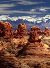 Rock Pillars & Frozen Peaks ~ Arches National Park, Utah ...