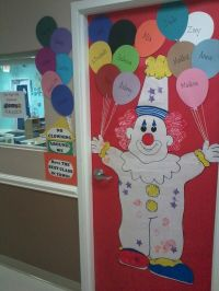 Clown door bulletin board