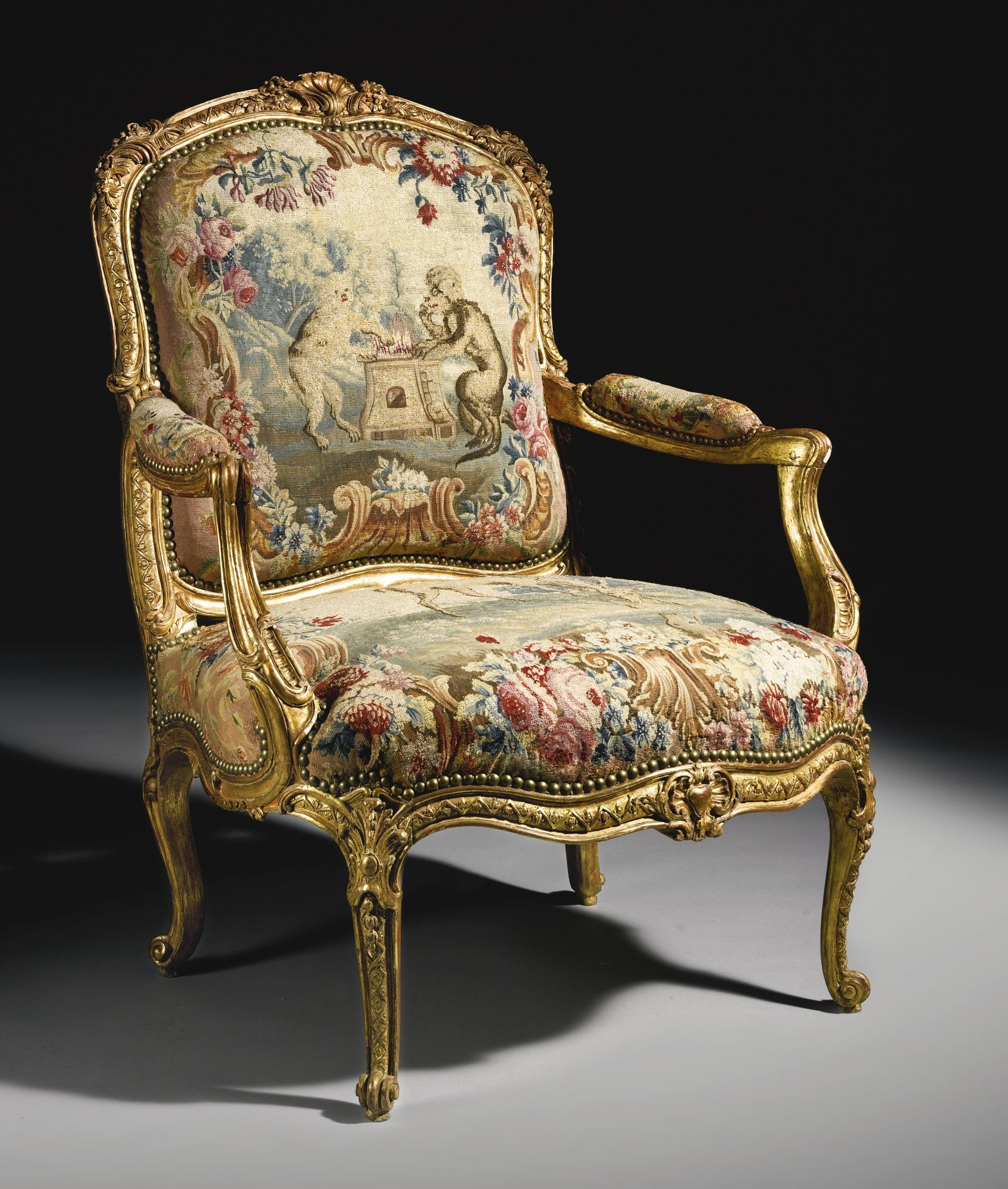 louis xv chair office massager carved giltwood fauteuil attributed to jacques