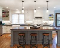 white-kitchen-cabinets-bay-window-pendant-lights-over ...
