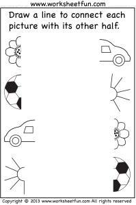 Preschool Worksheets - Connect Pictures - 5 Worksheets ...