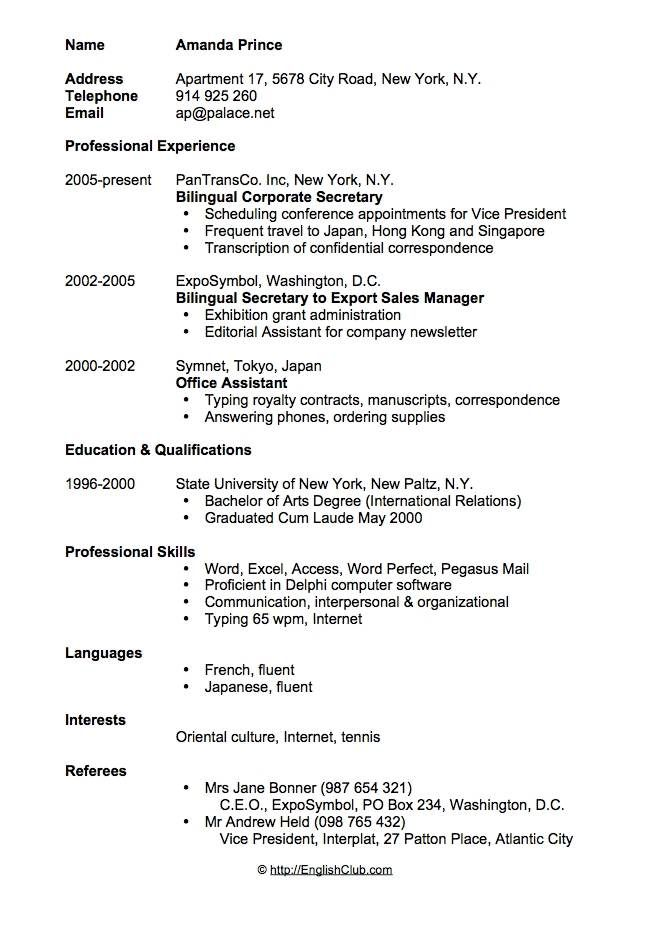 CV Resume Bilingual Secretary Job Hunting Pinterest Sample