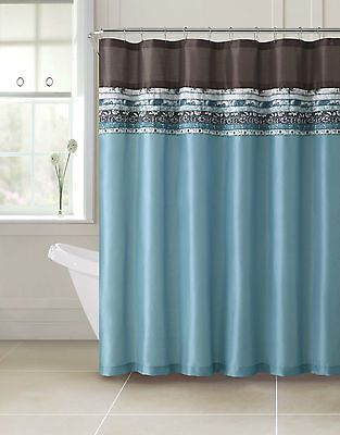 Turquoise And Brown Shower Curtain Springfield Luxury Chocolate