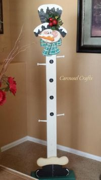 Wooden Santa Stocking stand | Cute snowman wood craft ...