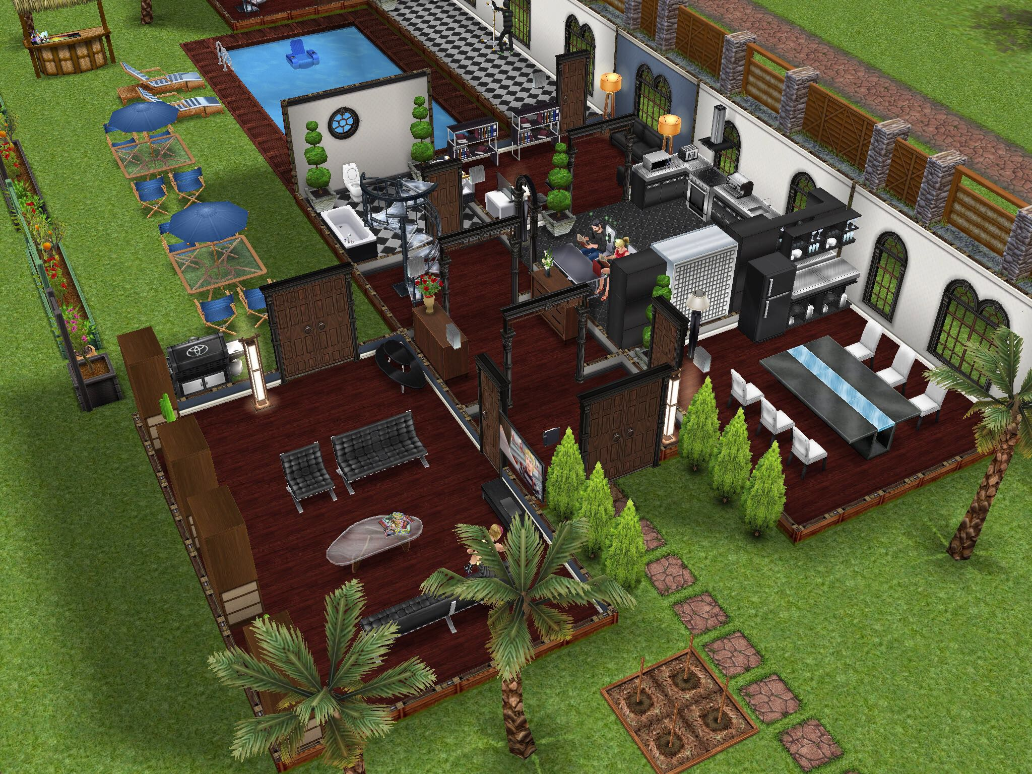 General House Backyard Pool Design Idea Sims Freeplay House