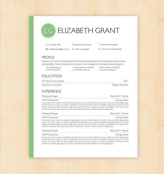 Resume Template CV Template The Elizabeth Grant Resume Design
