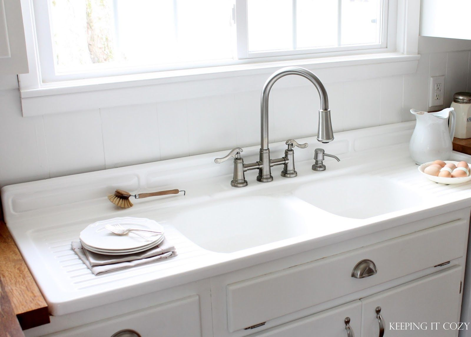 double kitchen sink with drainboard free cabinet design software vintage bowl  wow blog