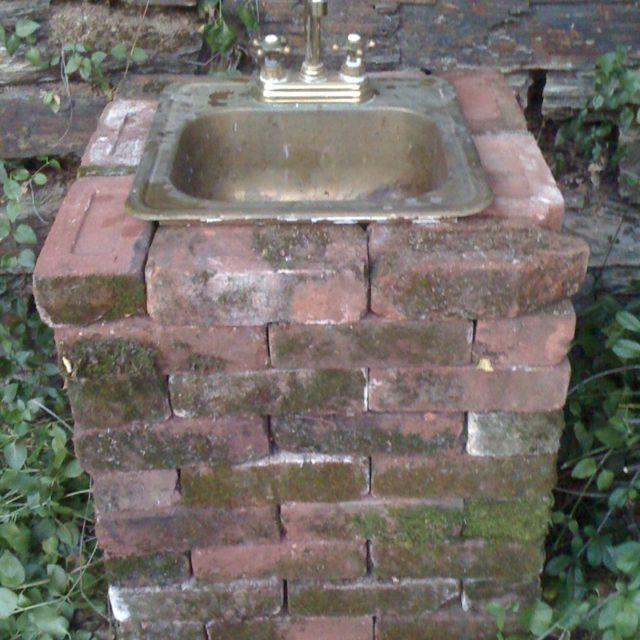 My Outdoor Sink Made From Savaged Bricks Brass Sink And Garden