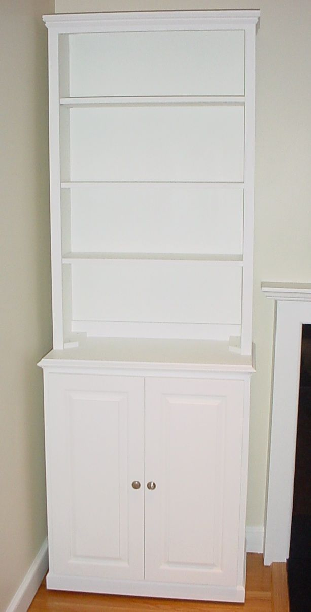 whitecabinetsbookcase  Bookcase Cabinet with Doors