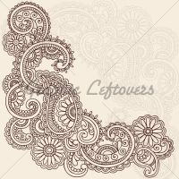 Hand drawn abstract henna paisley doodles and flowers ...