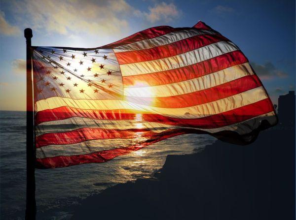 American Flag Beautiful Sunset