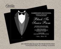 Black Tie Affair Prom Invitations | Formal DIY Printable ...