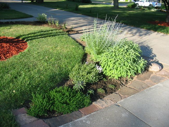 End Of Driveway Landscaping Ideas Front Herb Bed Front Lawn