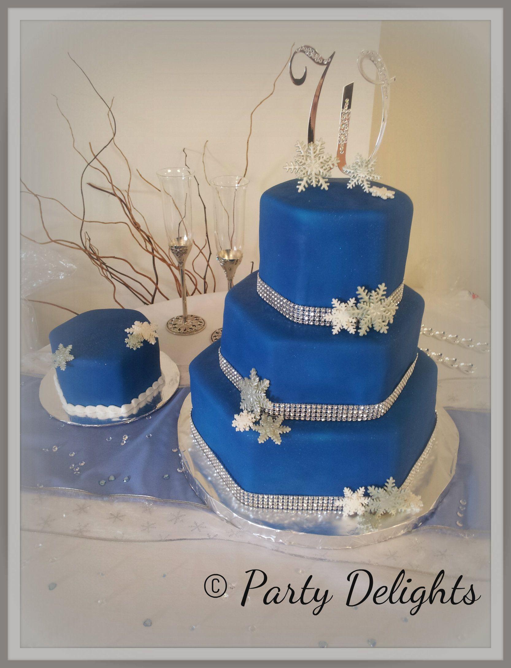 Royal Blue Silver And White Snowflake Wedding Cake