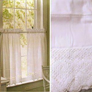 Martha Stewart One Pair Café Curtains White Crochet Trim Hemstitch