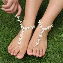 Beach Wedding Barefoot Sandals Rhinestone