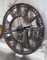 Antique Iron Wall Clock with Mirrored Clock Face | mirrors ...