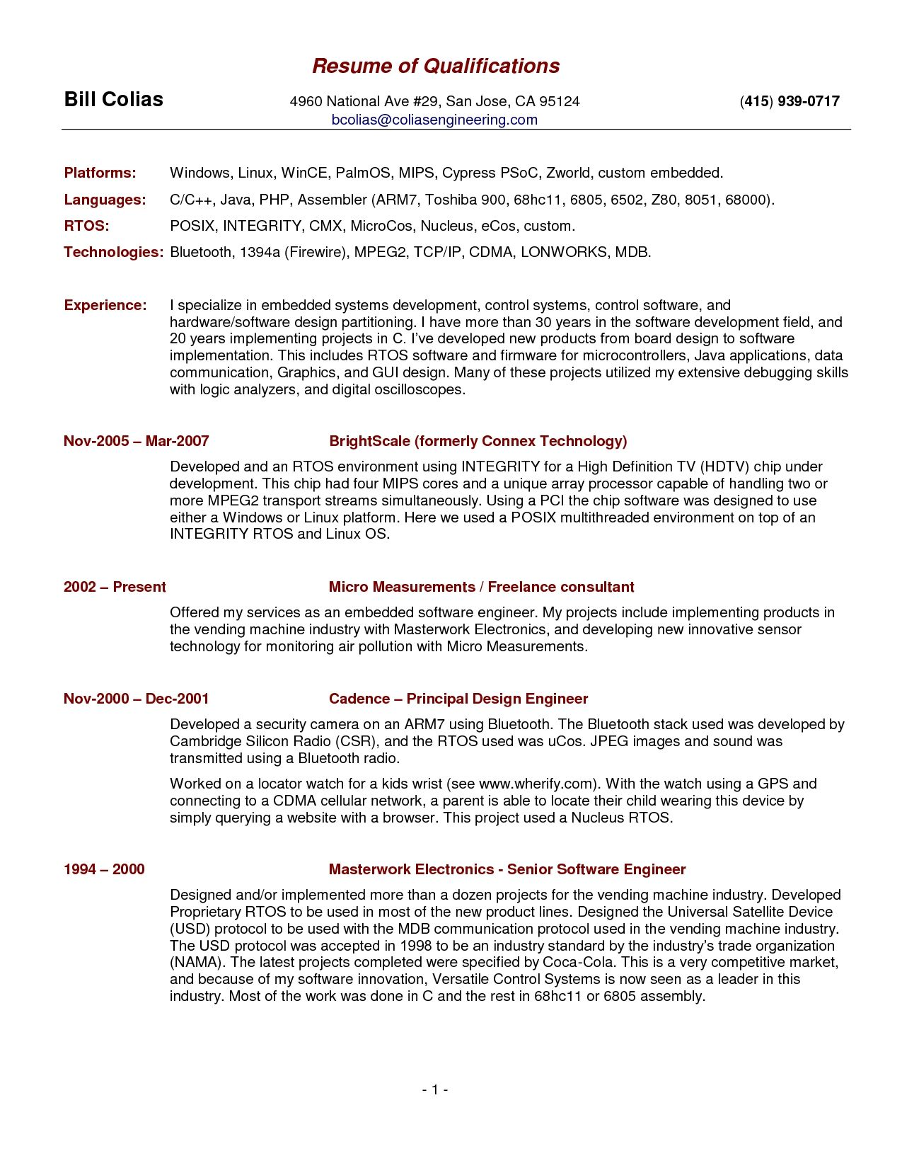 Qualifications Resume Sample Qualifications For A Resume Examples 7f8ea3a2a New Resume