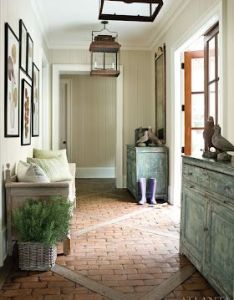 This mudroom is has so many fabulous ideas like the furniture pieces brick floors lighting and wall paint color also made in heaven  mix of rustic classic casa de campo rh pinterest
