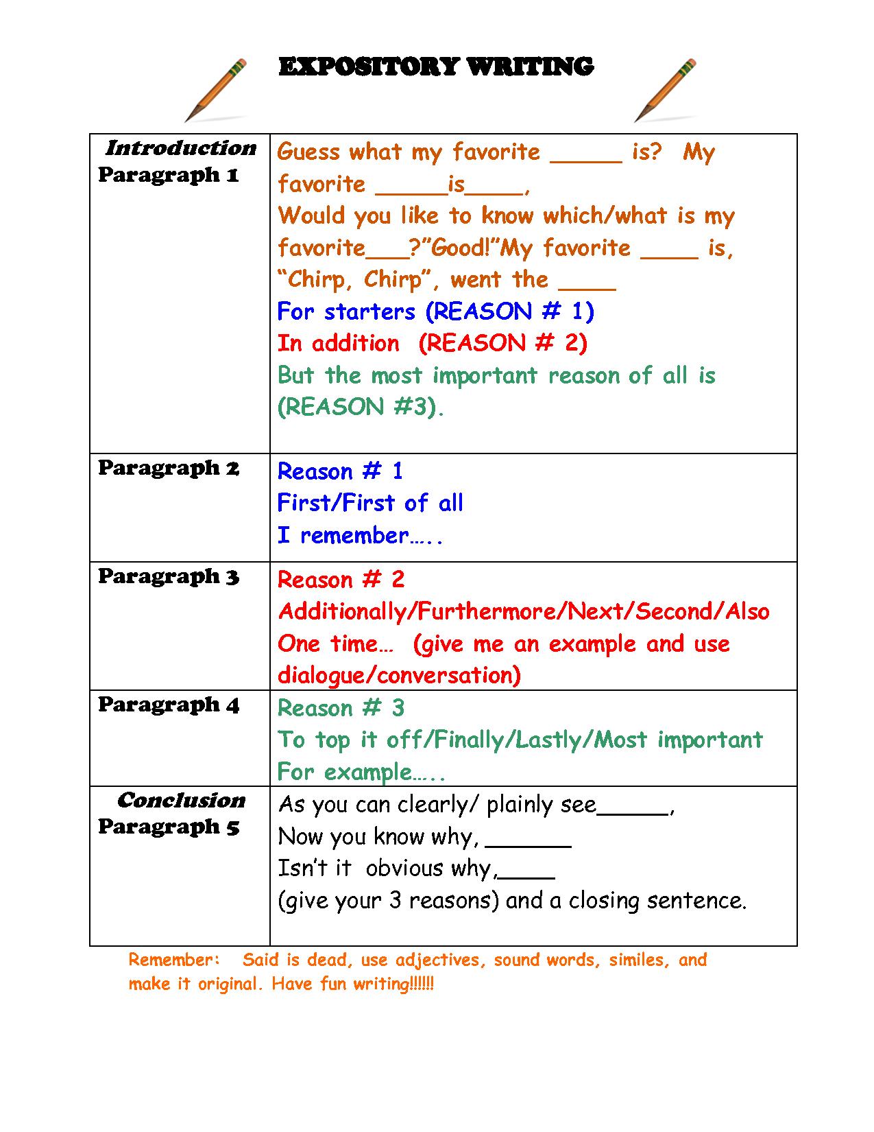 Free Expository Writing Graphic Organizer