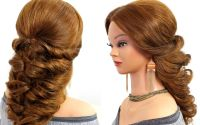 Easy wedding prom hairstyle for long hair.