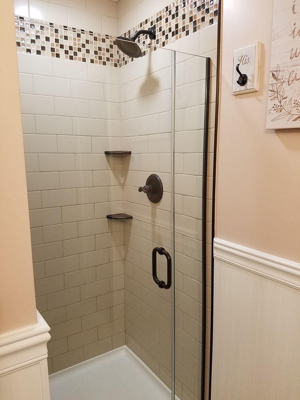 "Rustic Farmhouse Bathroom Wall tile is Daltile 4"" x 8"