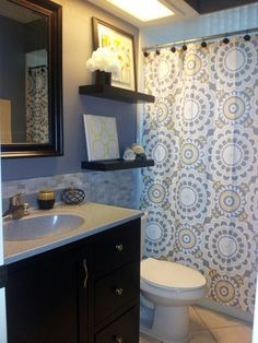 yellow grey white shower curtain blue walls - google search