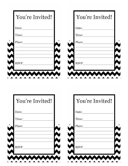 Free Printable black and white chevron Invitations $0.00