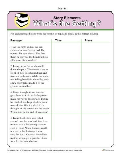 Story Elements Worksheet: Whats the Setting?