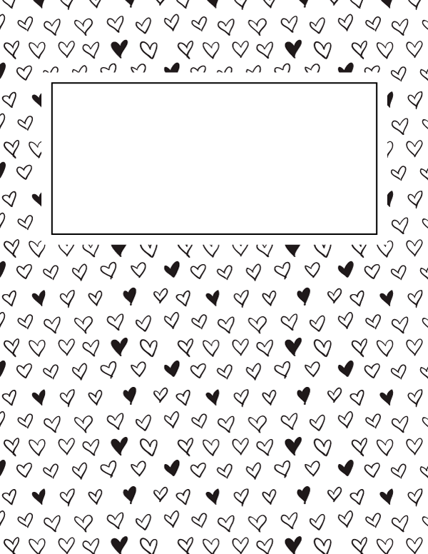 Free printable black and white heart binder cover template