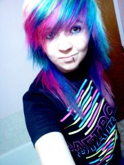 blonde pink blue and purple