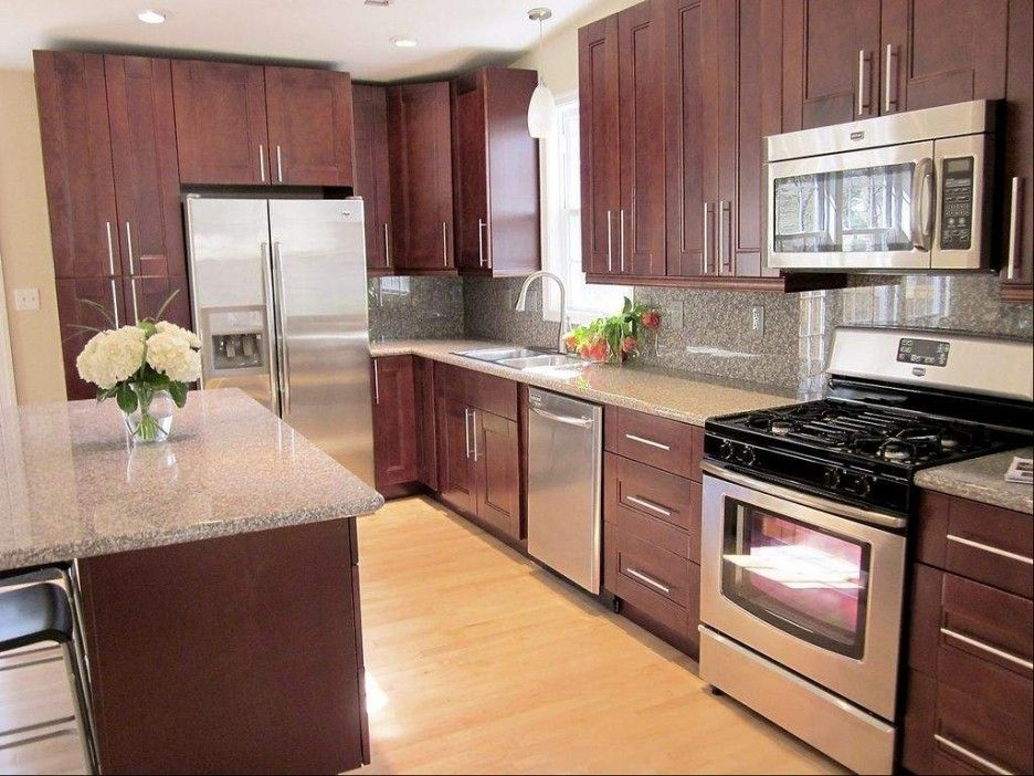 Pretty Cardinal Red Color Mahogany Wood Kitchen Cabinets