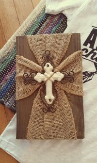 Burlap Cross Plaque by SevenHeartsForHope on Etsy