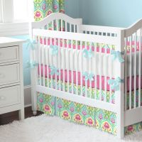 Blue and Taupe Paisley 3-Piece Crib Bedding Set | Bright ...