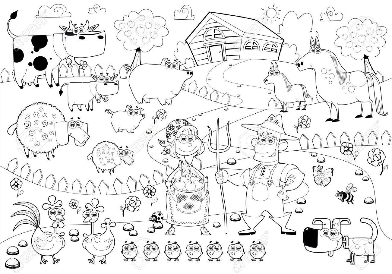 Familia Rural Divertida En Blanco Y Negro. Ilustraciones
