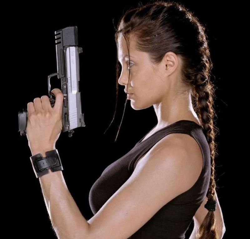 Young Angelina Jolie Tight Braided Ponytail From Tomb Raider