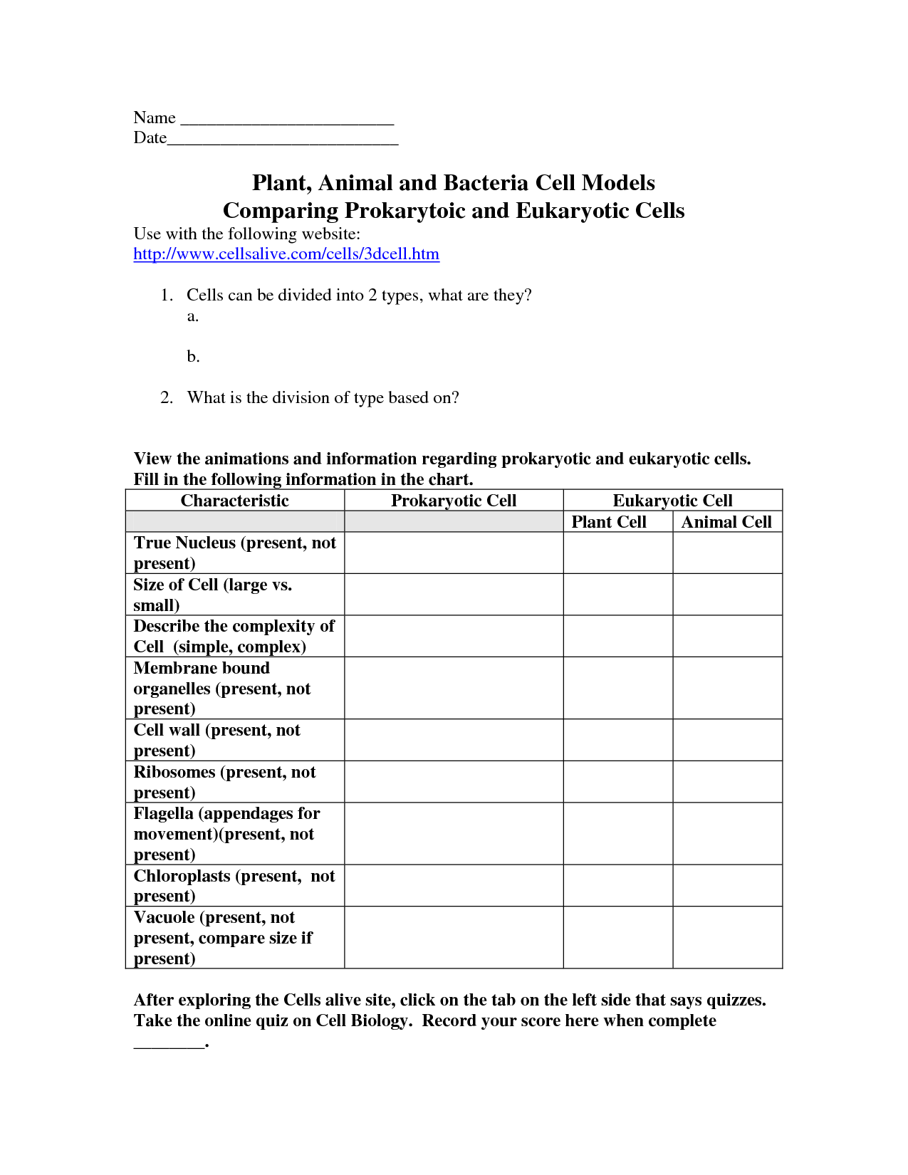 Cells Worksheets